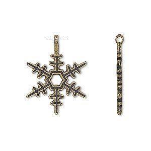 """Шарм, античная латунь, позолоченный """"и оловянная на"""" (цинк на основе сплав), 24x18mm двухсторонняя Снежинка. Продается в pkg из 10."""