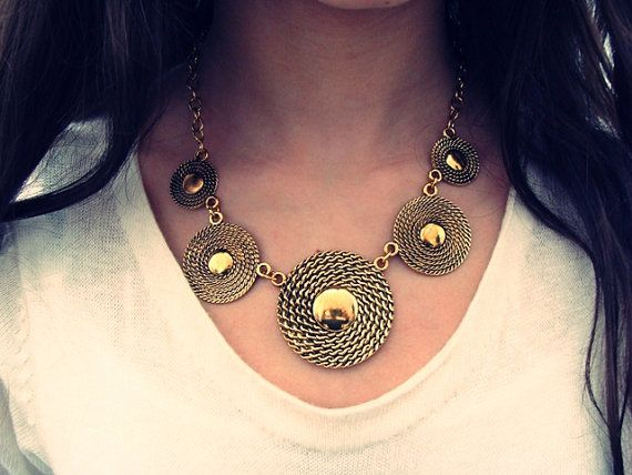 Bib Necklace, Gold Statement Necklace, Gold Tribal Necklace, Big Chunky Statement Necklace, Gold Vintage Necklace, Gold Antique Necklace