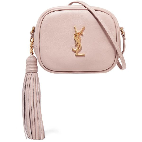 Saint Laurent Monogramme Blogger leather shoulder bag ($995) ❤ liked on Polyvore featuring bags, handbags, shoulder bags, pastel pink, white shoulder bag, cell phone purse, cell phone shoulder bag, leather purses and white handbags