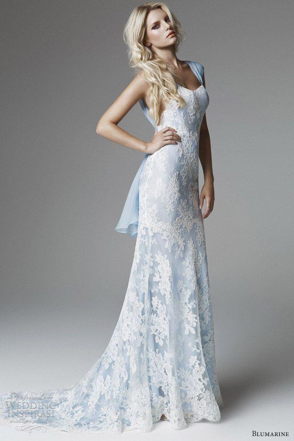 blumarine 2013 bridal collection wedding dress strapsblue