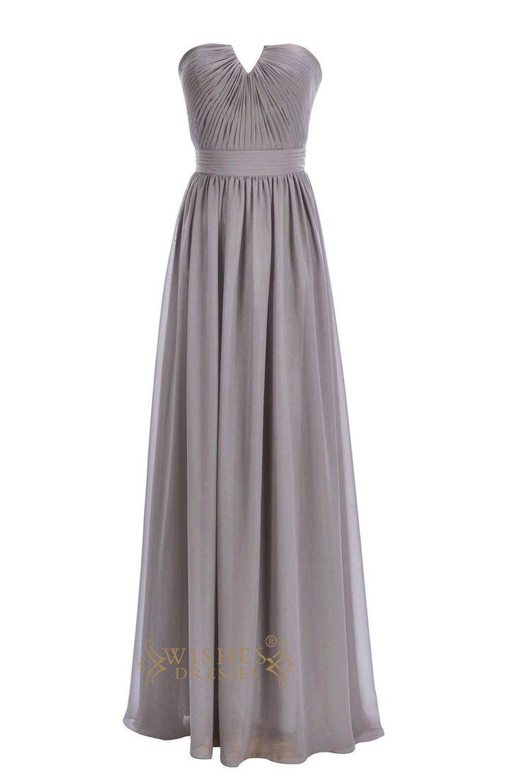 Grey 2015 A-line Purple Chiffon Floor Length Bridesmaid Dresses Am184