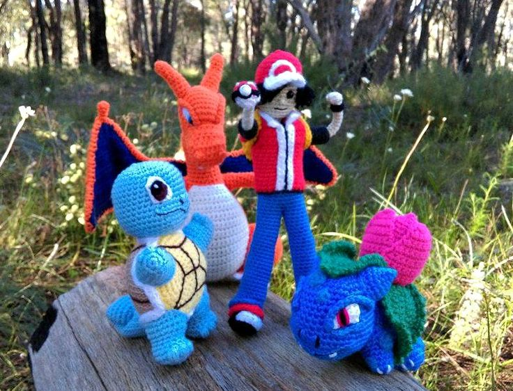 'Squirtle', 'Charizard', 'Pokémon Trainer', 'Ivysaur'.   Project information and pattern links here;   'Squirtle' - http://www.ravelry.com/projects/LindaDavie/baby-Squirtle  'Charizard' - http://www.ravelry.com/projects/LindaDavie/Charizard 'Ivysaur' - http://www.ravelry.com/projects/LindaDavie/baby-bulbasaur  No pattern for the 'Pokémon Trainer' - I made that one up as I went along.
