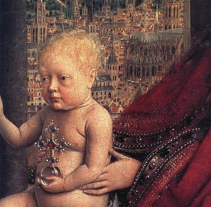 Niño lleva la bola de cristal llena de joyas.  Eje de escena arquitectura románica  -niño arquitectura gótica