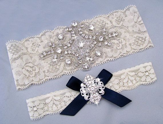 Navy Blue Wedding Garter Ivory White Bridal Set Something Lace Crystal Rhinestone Keepsake Toss Garters