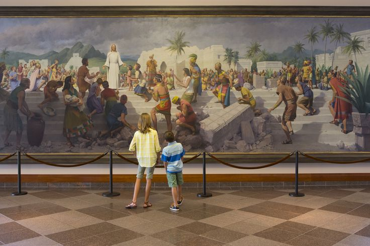 Mural inside LDS Conference Center depicting Christ's visit to the Americas following his crucifixion and resurrection.