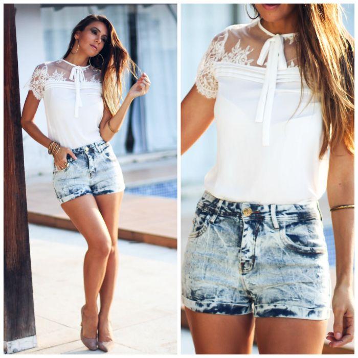 look com shorts jeans cintura alta e blusa de renda com gravatinha
