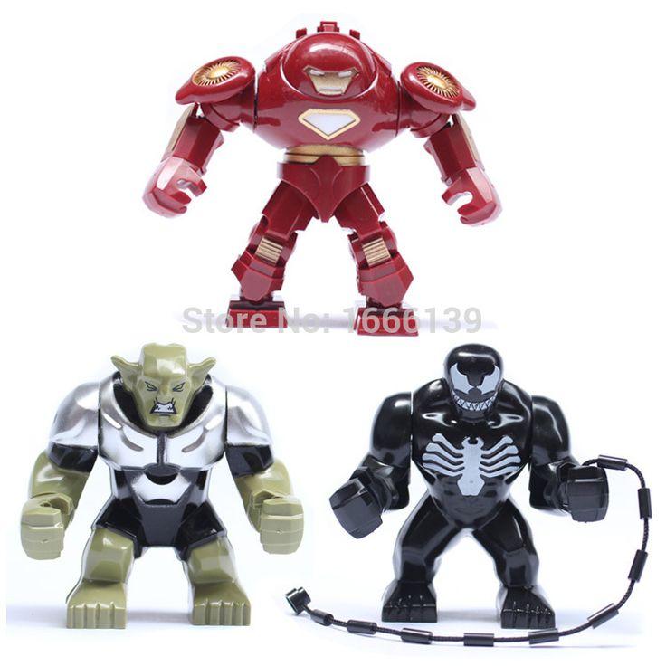 3 шт./лот большие цифры Marvel Comics супер герой мстители железный человек / яд / зеленый гоблин строительный блок игрушки просветите кирпичные игрушки