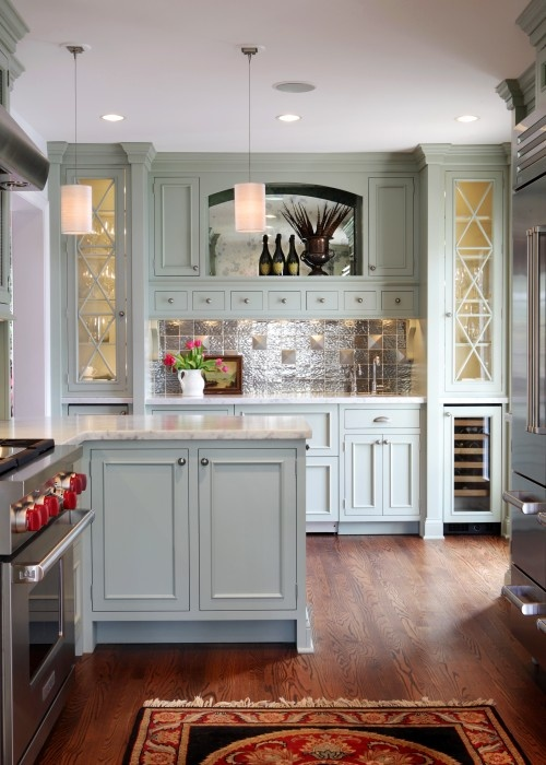 Love the color of the cabinets: Blue Cabinets, Cabinets Colors, Bick Kitchens, Traditional Kitchens, Blue Kitchens, Kitchens Layout, Glasses Doors, Kitchens Cabinets, Karr Bick