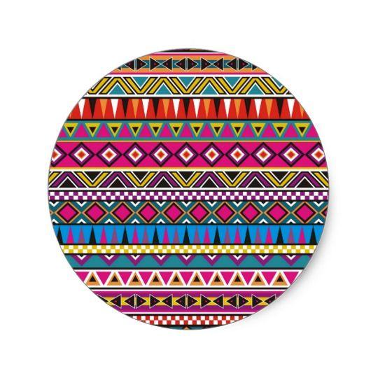 Motif inspiré par Aztèque Sticker Rond