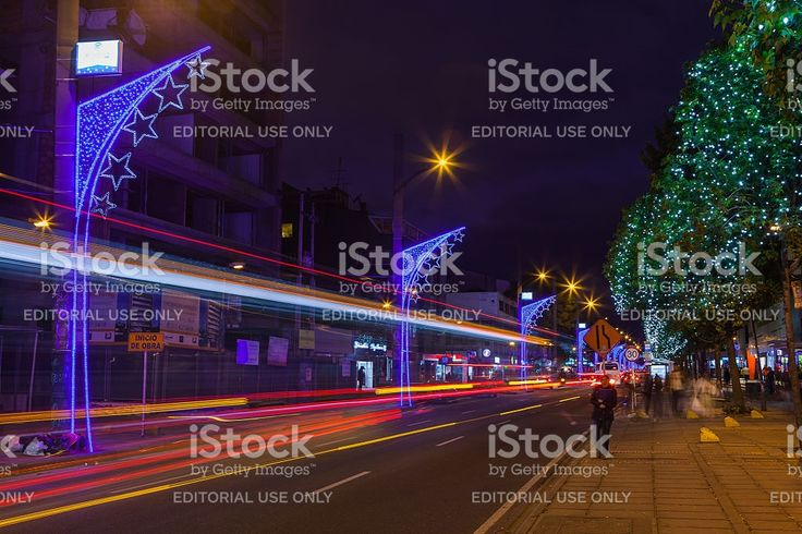 Bogota, Colombia - Christmas lights on Carrera Quince royalty-free stock photo