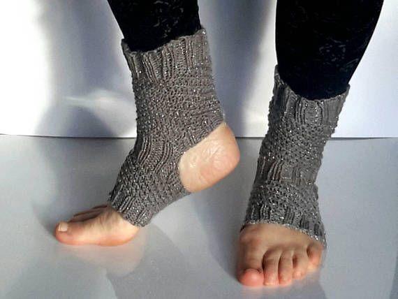 Yoga socks knitted socks women's socks handmade silver