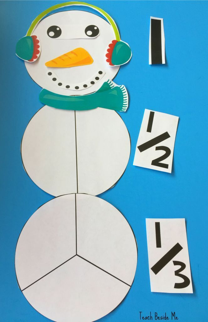 Free snowman fractions! Fun winter math activity for kids.