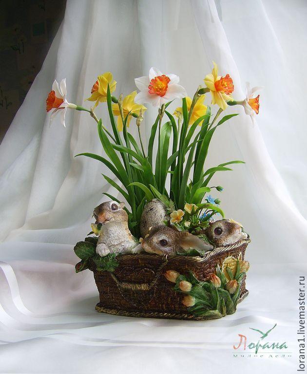 """Композиция """"Нарциссы"""". - полимерная глина,керамическая флористика,цветы ручной работы"""