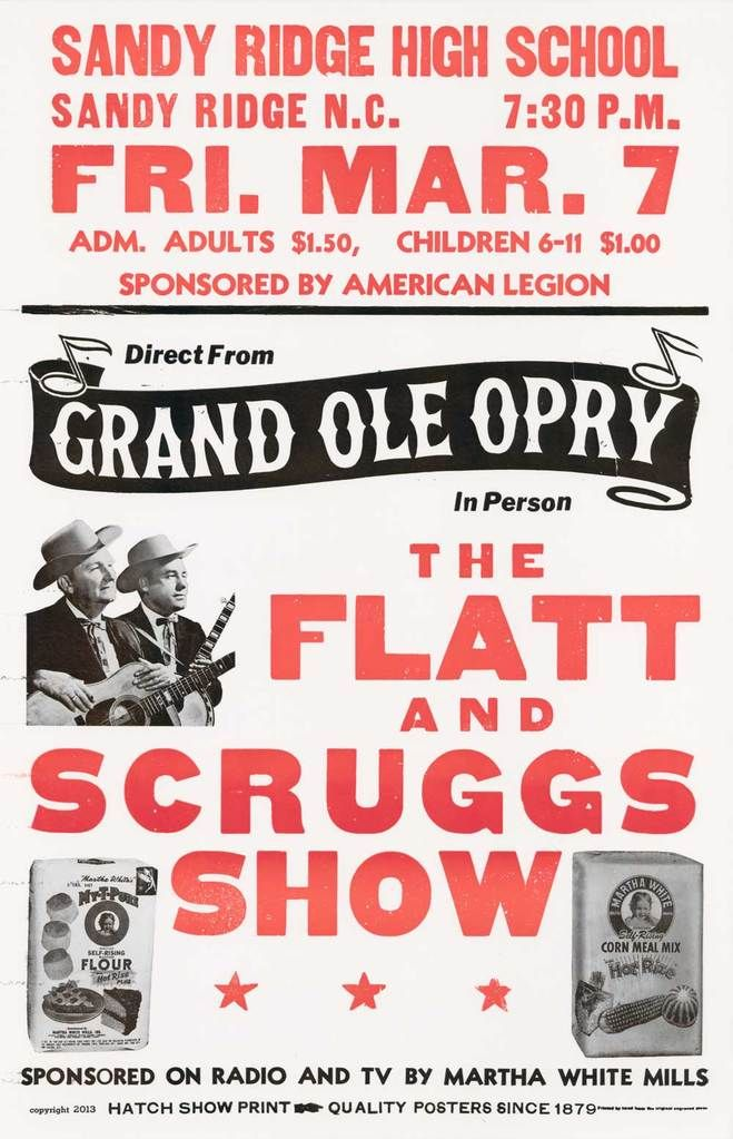 Flatt Scruggs Red Black Concert Posters Martha White Music Concert Posters