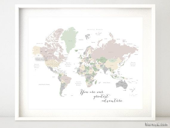 The 25 best world maps with countries ideas on pinterest show printable world map with countries us states labeled you are our greatest adventure quote gender neutral nursery art sciox Image collections