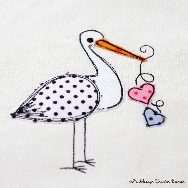Storch Doodle Stickdatei von KerstinBremer.de. ♥ Doodle stork appliqué machine embroidery design. #sticken #embroiderydesign #animal #nähmalen