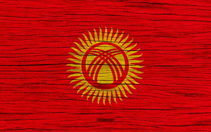 Download wallpapers Flag of Kyrgyzstan, 4k, Asia, wooden texture, Kyrgyz flag, national symbols, Kyrgyzstan flag, art, Kyrgyzstan