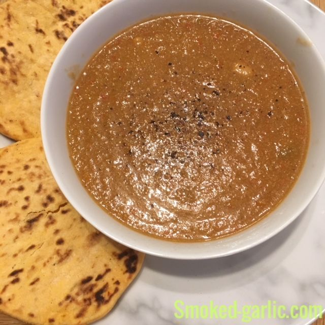Hot Chilli Veggie Soup  see here for details https://garlic-recipes.com #garlicrecipes #smokedgarlic #barbismoked #soup #veggies #starters #lunch