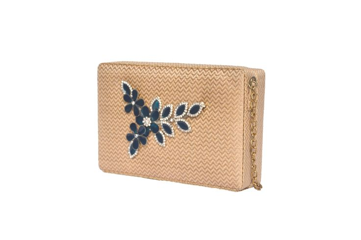 Gold  clutch with blue broach