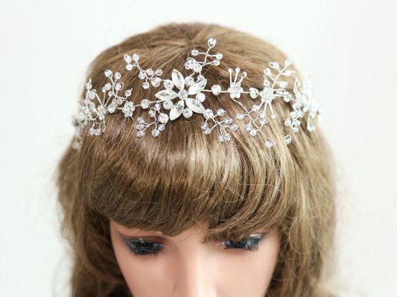 Argento, Crystal Tiara diadema sulla fronte, copricapo da sposa, strass Tiara, copricapo da sposa, Diadema principessa, fascia da sposa