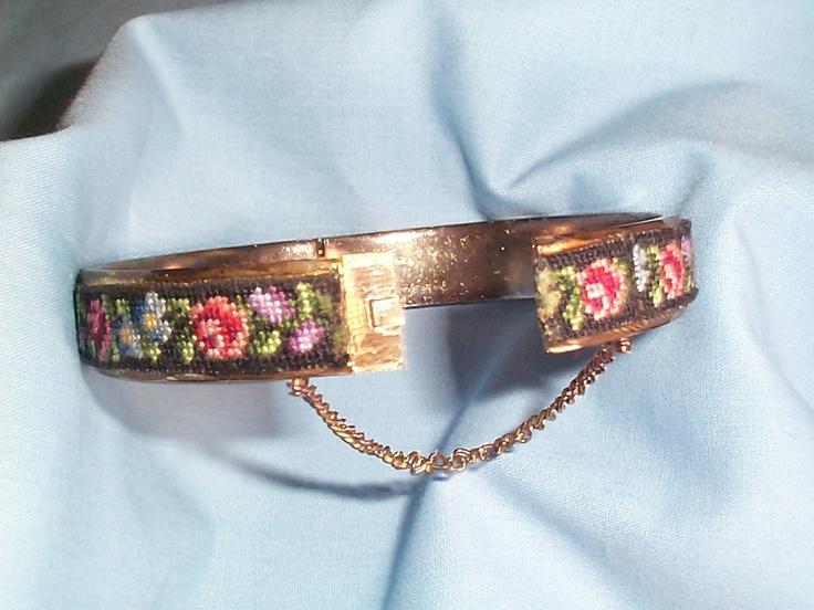 Petit-Point Bangle Clasp Bracelet