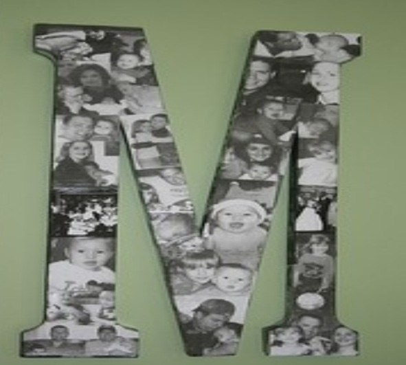 Collage of black and white pictures on letter