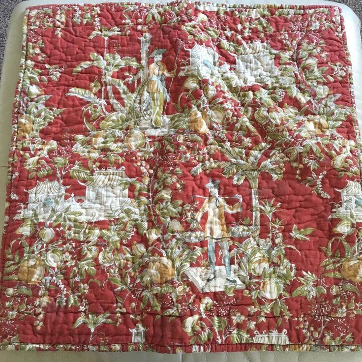 3 Piece Pottery Barn Red Oriental Asian Standard Pillowcases & Euro Sham Linen #PotteryBarn #Asian