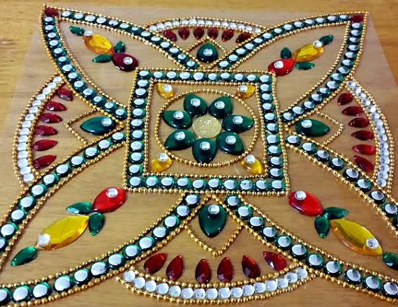 Rangoli floor art indian wedding decor 1 piece kundan for Floor rangoli design