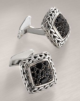 Black Sapphire Square Cuff Links by John Hardy at Neiman Marcus.