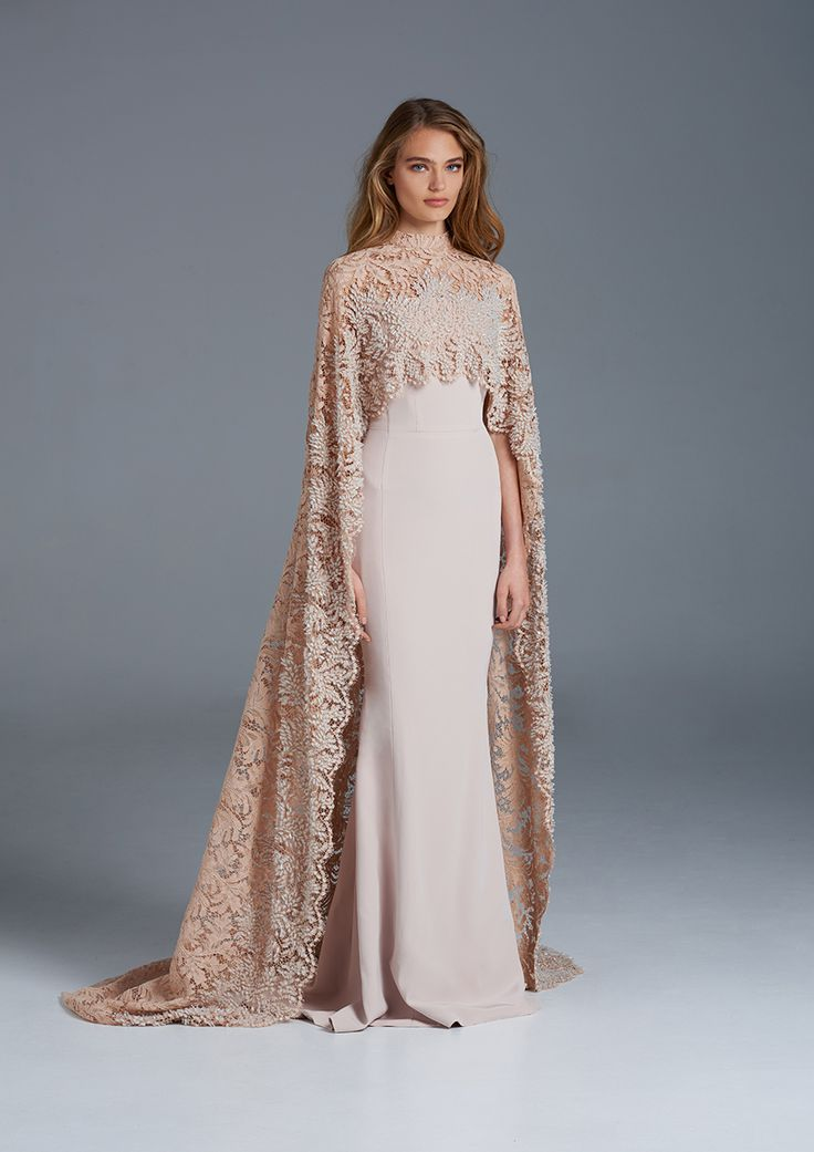 Silk fishtail wedding gown with Sophie Hallette beaded lace cape // The Nightingale: Paolo Sebastian Spring/Summer 2015-16 Collection