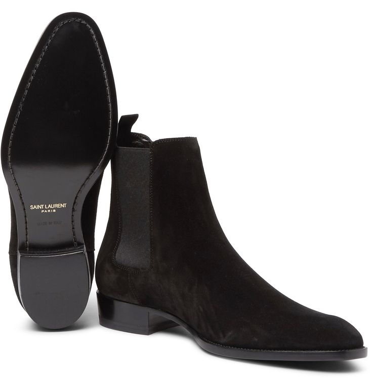 Chelsea boots are appreciated for their sleek profile, and this pair by <a href='http://www.mrporter.com/mens/Designers/Saint_Laurent'>Saint Laurent</a> is a fine case in point. Elegant in their simplicity, they've been made in Italy from tactile black suede and set on subtly height-enhancing 30mm heels. Grosgrain pull tabs and elasticated inserts ensure they're comfortable and easy to slip on and off. Team them with a pair of the...