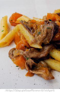 Pasta con zucca e funghi ricetta primo piatto facile vickyart arte in cucina