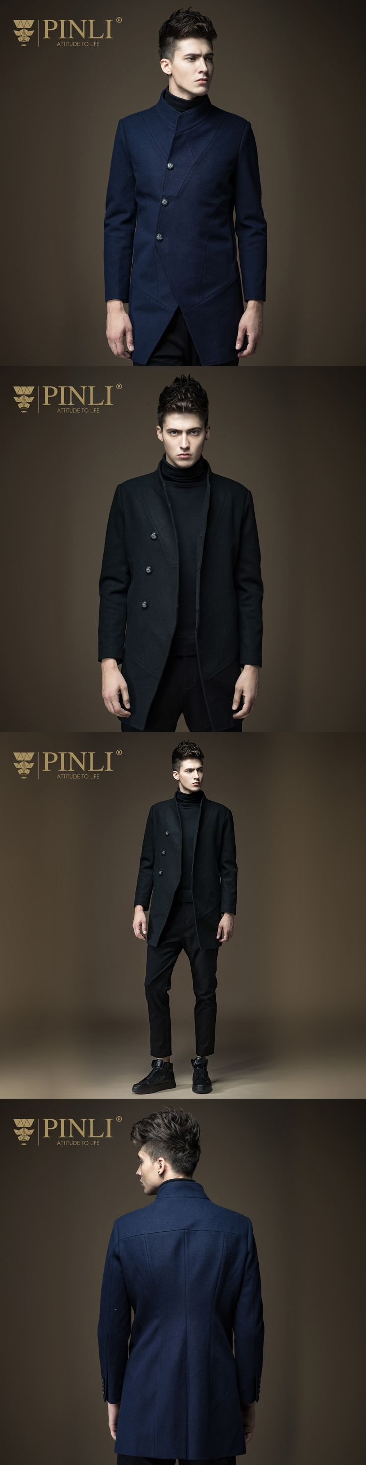 Peacoat Time-limited Half Turn-down Collar Solid No Feathers Pinli 2016 New Winter Men's Slim In The Long Wool Coat B164102001