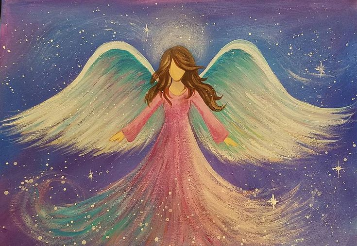 Healing Angel #AcrylicPainting Tutorial on YouTube by #angelafineart FREE Canvas Painting for Beginners Paint Party