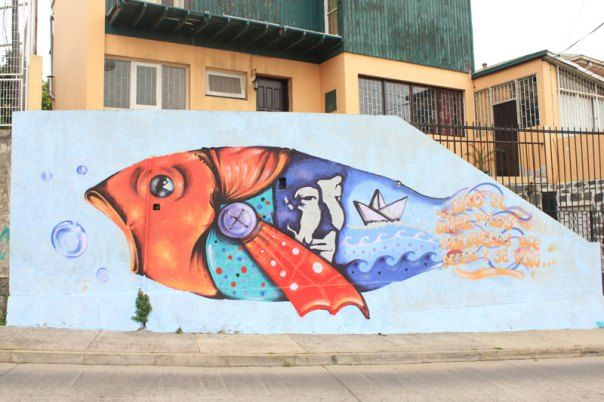 #Impulseearth #Valparaiso #Chile #Graffiti #Street Art #Fish #Painting #Creativity #Blue #Orange #Huge