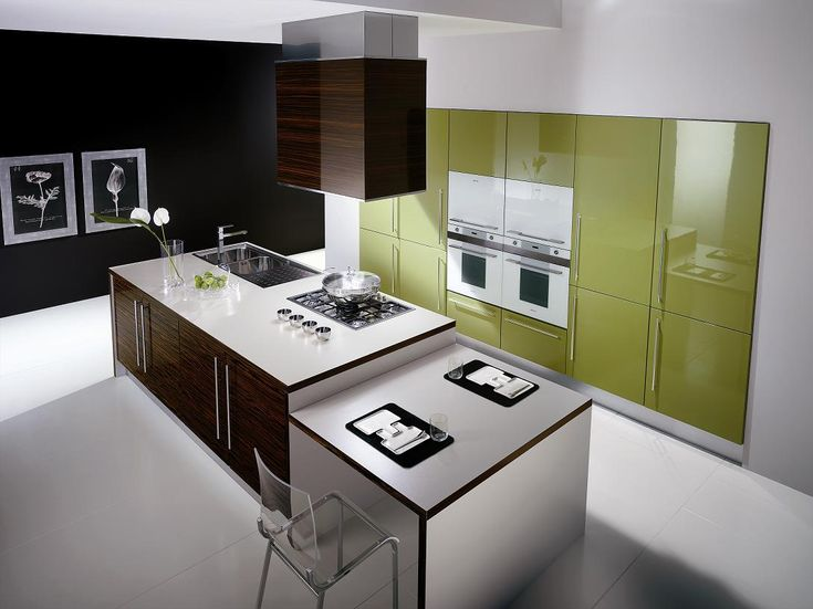 Kitchen with beautiful modern minimalist appliances and furniture