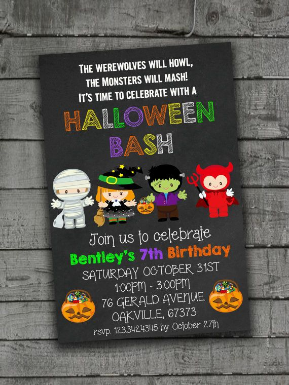kids halloween invitations birthday party by partyprintableinvite - Baby Halloween Birthday Party