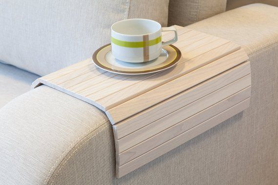 Sofa Tray Table White Tray Table Wooden Coffee Table Lap Desk Small Spaces Wooden Tray Sofa Arm Table Gift F