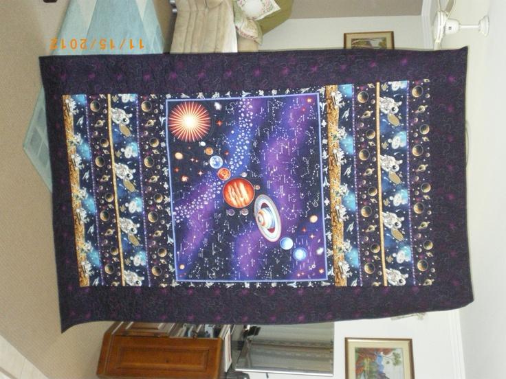 Haydens' 9th Birthday quilt. It glows in the dark