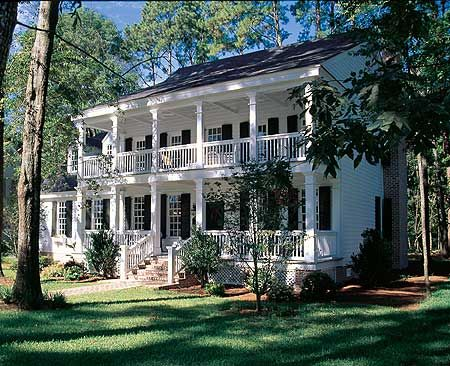 "This is a ""stacked"" porch, plantation style traditional center hall home. I want these stacked porches with the great look and layout of this house: http://www.architecturaldesigns.com/house-plan-32595WP.asp"