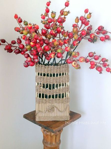 Corrugated cardboard and jute twine vase