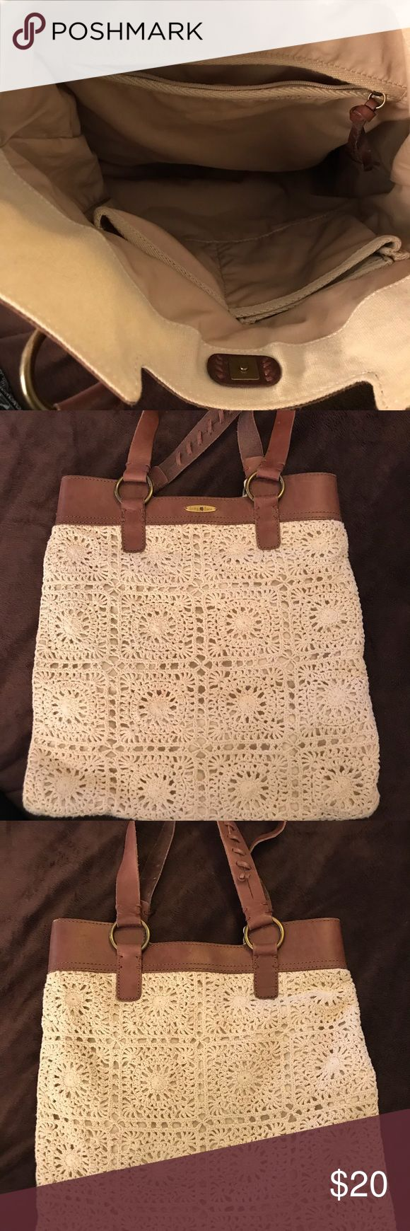 Lucky Brand Crocheted Purse/Tote- EUC Fun cream colored Lucky Brand crocheted purse/tote with brown leather straps. Great condition! Lucky Brand Bags Totes