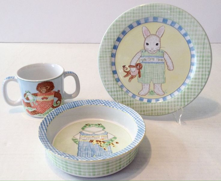 Kelly Rightsell 3-Pc Child's Dish Set Cup Bowl Plate Monkey Frog Bunny Portugal #KellyRightsellKBR
