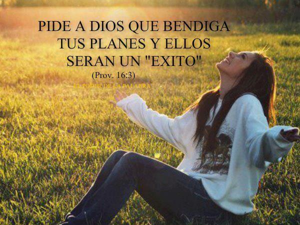 Pide a Dios que bendiga tus planes y ellos serán un éxito.