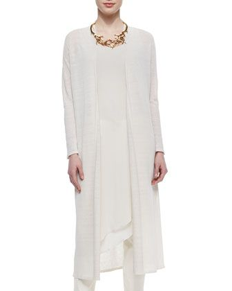 Washable Linen Crepe Maxi Cardigan, Petite  by Eileen Fisher at Neiman Marcus.