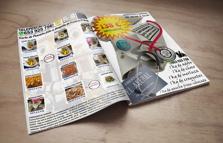 Carta de 1/4 y oferta de 5 kilos de Freiduria El Arenal http://www.telepescaito.es/cartas #Sevilla #Pescaitofrito
