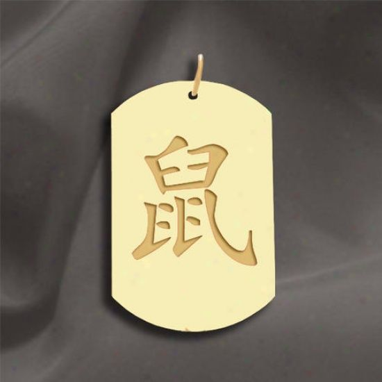 "Black Zodiac Dog Tag Necklace: Rat"" Chinese Zodiac Symbol Dog"
