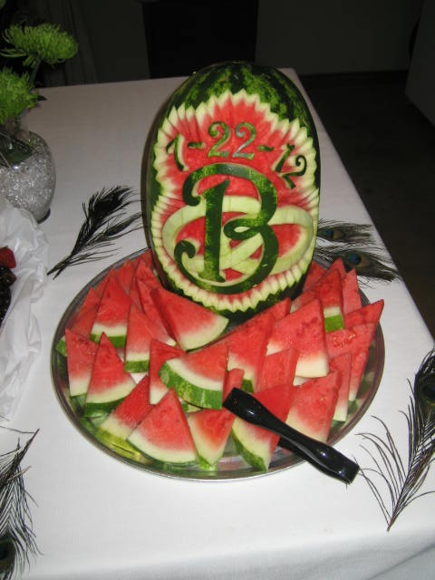 Watermelon carving with wedding date and quot b for busselman