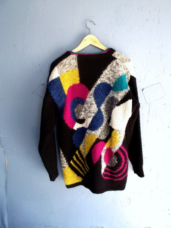 Vintage Bold Pattern Knit Mohair Cosby Cardigan Oversize 80's Sweater
