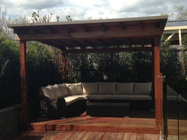 Check this, a bit of a 'new' design from Custom Built Gazebos. This is a 3.6 x 3.6 meter Gazebo – the posts are laminated Merbue with kilm dried hard wood facia beams – looks great! Another very happy gazebo customer.